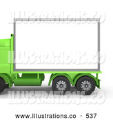 Royalty Free Stock Illustration of a Green Diesel Big Rig Truck with a Blank White Billboard, Ready for an Advertisement on White by 3poD