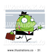 November 13th, 2013: Royalty Free Stock Illustration of a Green Professional Monster with Yellow Spots, Wearing a Business Suit and Hat and Carrying a Briefcase to Work by Hit Toon
