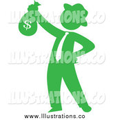 Royalty Free Stock Illustration of a Green Silhouetted Businessman Holding a Money Bag by Rosie Piter