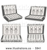 Royalty Free Stock Illustration of a Greyscale Sketched Design Laptop Computers with Three Gray Men on Each Screen by Leo Blanchette