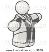 Royalty Free Stock Illustration of a Greyscale Sketched Design Mascot Big Man in a Suit and Tie by Leo Blanchette
