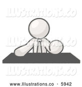 Royalty Free Stock Illustration of a Greyscale Sketched Design Mascot Boss at a Desk by Leo Blanchette