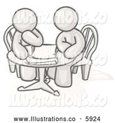 Royalty Free Stock Illustration of a Greyscale Sketched Design Mascot Business Men Sitting Side by Side at a Table During a Conference or Meeting by Leo Blanchette