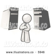 Royalty Free Stock Illustration of a Greyscale Sketched Design Mascot Businessman Character Standing in Front of Server Towers by Leo Blanchette