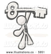 Royalty Free Stock Illustration of a Greyscale Sketched Design Mascot Businessman Holding a Large Golden Skeleton Key, Symbolizing Success by Leo Blanchette