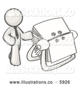 Royalty Free Stock Illustration of a Greyscale Sketched Design Mascot Businessman Standing Beside a Rotary Card File with Blank Index Cards by Leo Blanchette