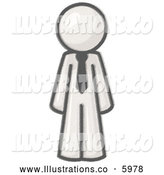 Royalty Free Stock Illustration of a Greyscale Sketched Design Mascot Businessman Wearing a Tie, Standing with His Arms at His Side by Leo Blanchette
