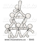 Royalty Free Stock Illustration of a Greyscale Sketched Design Mascot Businessmen Piling up to Form a Pyramid by Leo Blanchette