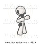 Royalty Free Stock Illustration of a Greyscale Sketched Design Mascot Customer Service Employee Taking a Call with a Headset in a Call Center by Leo Blanchette