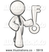 Royalty Free Stock Illustration of a Greyscale Sketched Design Mascot Holding a Skeleton Key by Leo Blanchette