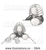 Royalty Free Stock Illustration of a Greyscale Sketched Design Mascot Judge Man Wearing a Wig in Court by Leo Blanchette