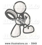 Royalty Free Stock Illustration of a Greyscale Sketched Design Mascot Man Bending over to Inspect Something Through a Magnifying Glass by Leo Blanchette
