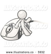 Royalty Free Stock Illustration of a Greyscale Sketched Design Mascot Man Character Leaning Against a Corded Computer Mouse by Leo Blanchette