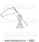 Royalty Free Stock Illustration of a Greyscale Sketched Design Mascot Man Claiming Territory by Sticking a Flag in the Ground by Leo Blanchette