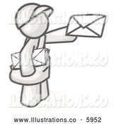 Royalty Free Stock Illustration of a Greyscale Sketched Design Mascot Man Delivering a Letter While Working His Route by Leo Blanchette