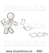 Royalty Free Stock Illustration of a Greyscale Sketched Design Mascot Man Dropping White Sheets of Paper on a Ground and Leaving a Paper Trail by Leo Blanchette