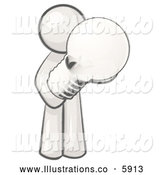 Royalty Free Stock Illustration of a Greyscale Sketched Design Mascot Man Holding a Glass Electric Lightbulb by Leo Blanchette
