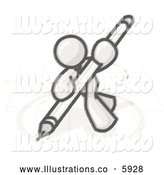 Royalty Free Stock Illustration of a Greyscale Sketched Design Mascot Man Holding a Large Pen and Drawing a Circle by Leo Blanchette