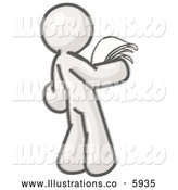 Royalty Free Stock Illustration of a Greyscale Sketched Design Mascot Man Holding Papers and Documents in His Hands and Reading Them by Leo Blanchette