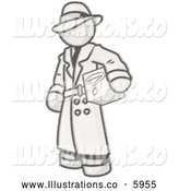 Royalty Free Stock Illustration of a Greyscale Sketched Design Mascot Man in a Trench Coat and Hat, Carrying a Secret Box by Leo Blanchette