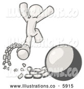 Royalty Free Stock Illustration of a Greyscale Sketched Design Mascot Man Jumping for Joy After Breaking Free from the Ball and Chain by Leo Blanchette