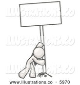 Royalty Free Stock Illustration of a Greyscale Sketched Design Mascot Man Pushing a Blank Sign Upright by Leo Blanchette