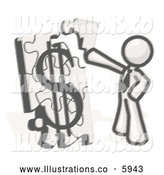 Royalty Free Stock Illustration of a Greyscale Sketched Design Mascot Man Putting a Dollar Sign Puzzle Together by Leo Blanchette