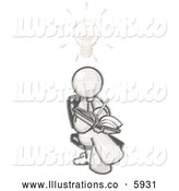 Royalty Free Stock Illustration of a Greyscale Sketched Design Mascot Man Seated with His Legs Crossed, Brainstorming and Writing Ideas down in a Notebook, a Lightbulb over His Head by Leo Blanchette