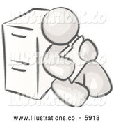 Royalty Free Stock Illustration of a Greyscale Sketched Design Mascot Man Sitting by a Filing Cabinet and Holding a Folder by Leo Blanchette