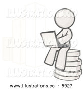 Royalty Free Stock Illustration of a Greyscale Sketched Design Mascot Man Sitting on Coins and Using a Laptop by a Bar Graph by Leo Blanchette
