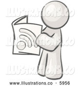 Royalty Free Stock Illustration of a Greyscale Sketched Design Mascot Man Standing and Reading an Rss Magazine by Leo Blanchette