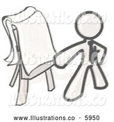 Royalty Free Stock Illustration of a Greyscale Sketched Design Mascot Man Standing by a Dollar Sign Puzzle on a Presentation Board During a Meeting by Leo Blanchette