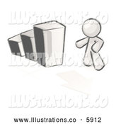 Royalty Free Stock Illustration of a Greyscale Sketched Design Mascot Man Standing by an Increasing Bar Graph on a Grid Background with an Arrow by Leo Blanchette