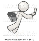 Royalty Free Stock Illustration of a Greyscale Sketched Design Mascot Man Tripping on Steps While Texting on a Cell Phone by Leo Blanchette