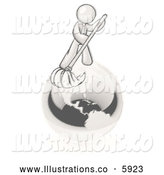 Royalty Free Stock Illustration of a Greyscale Sketched Design Mascot Man Using a Wet Mop with Green Cleaning Products to Clean up the Environment of Planet Earth by Leo Blanchette