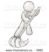 Royalty Free Stock Illustration of a Greyscale Sketched Design Mascot Man Wearing a Tie, Using a Mop While Mopping a Hard Floor to Clean up a Mess or Spill by Leo Blanchette