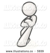 Royalty Free Stock Illustration of a Greyscale Sketched Design Mascot Man with His Arms Crossed, Leaning Against a Wall with an Attitude by Leo Blanchette