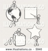 Royalty Free Stock Illustration of a Greyscale Sketched Design Mascot Men Doing Different Things; Sitting on and Carrying a Globe, Pointing at a Board, Pushing and Sitting on a Cube, and Holding up a Star by Leo Blanchette