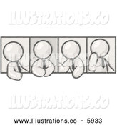 Royalty Free Stock Illustration of a Greyscale Sketched Design Mascot Men in Different Poses by Leo Blanchette