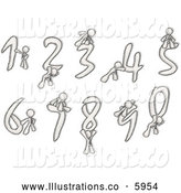 Royalty Free Stock Illustration of a Greyscale Sketched Design Mascot Men with Numbers 0-9 by Leo Blanchette