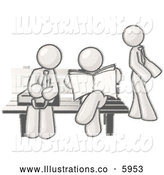 Royalty Free Stock Illustration of a Greyscale Sketched Design Mascots Waiting at a Bench at a Bus Stop by Leo Blanchette