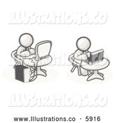 Royalty Free Stock Illustration of a Greyscale Sketched Design Mascots Working on Computers in an Office by Leo Blanchette