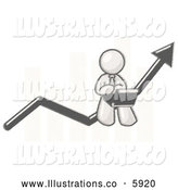 Royalty Free Stock Illustration of a Greyscale Sketched Man Sitting on a Financial Line Bar Graph by Leo Blanchette