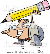 Royalty Free Stock Illustration of a Grinning Business Man Jumping with a Giant Pencil on His Back by Toonaday