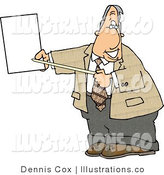 Royalty Free Stock Illustration of a Grinning White Male Lawyer Pointing at an Important Blank Piece of Paper by Djart