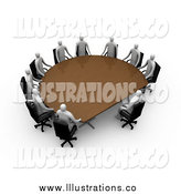 Royalty Free Stock Illustration of a Group of 3d Professional People Surrounding a Half Circle Meeting Table by 3poD