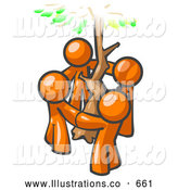 Royalty Free Stock Illustration of a Group of 4 Friendly Orange Man Standing in a Circle Around a Tree by Leo Blanchette