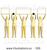 Royalty Free Stock Illustration of a Group of 5 Golden Men Holding up Blank Boxes and Dots for a Domain Name to Be Entered by 3poD