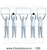 Royalty Free Stock Illustration of a Group of 5 Silver People Holding up Blank Boxes and Dots for a Domain Name to Be Entered by 3poD