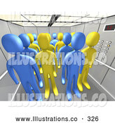 Royalty Free Stock Illustration of a Group of Blue and Yellow People in an Office Elevator by 3poD